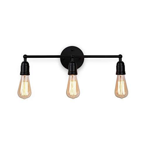 Nologo Diommest Stecken Sie in Wandleuchte Moderne Waschtisch im Bad Licht, 3-Leuchten Flur Wandleuchte Wandhalterung Licht Rasierspiegel Licht Leuchte Bauernhof Wandleuchten Schwarz