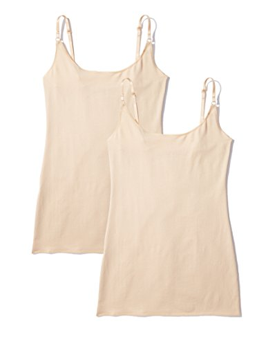 Amazon-Marke: Iris & Lilly Damen Unterhemd, 2er Pack, Beige (Classic Nude), L, Label: L