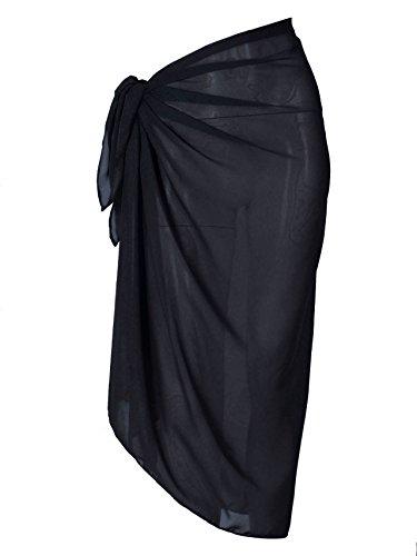 CHIC DIARY Damen Frauen elegant Sarong Pareo Strandtuch Bikini Wickelrock Wickeltuch farbig geblümt gedruckt Strand Schal Halstuch, Schwarz, 100cmx145cm