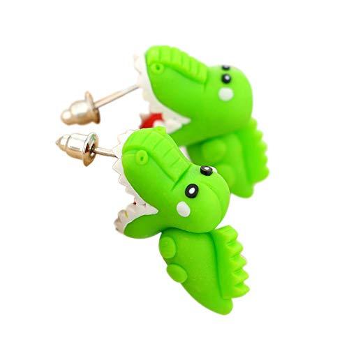 Doitsa 2pcs Cute Aretes de Cocodrilo Verde Dibujos Animados Pendientes de Joyería Hechos a Mano para Niñas Hombres, 4.7 * 1.3cm