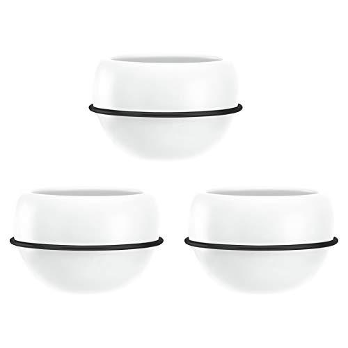 Amazon Basics Pflanztopf für die Wandaufhängung, rund, Weiß / Schwarz, 3 Stück
