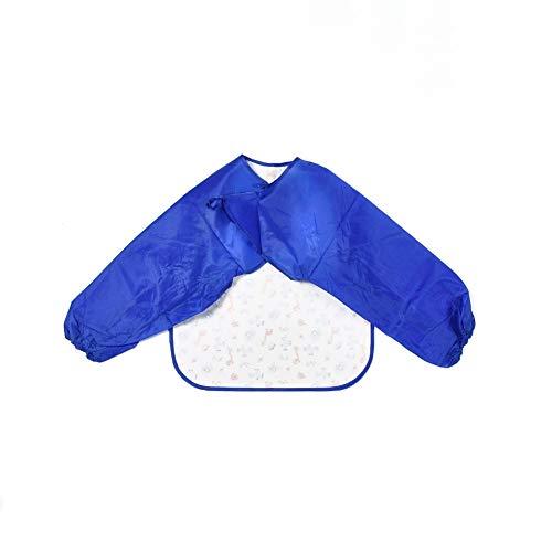 Malkittel Malschürze für Kinder (Blau/Weiß, XS) 40 x 35 cm