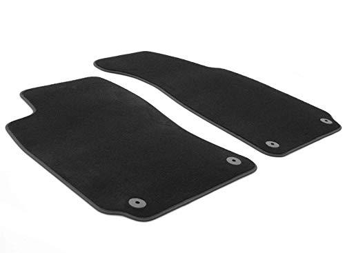 KH piezas felpudos/Terciopelo Auto Calidad felpudos Original Alfombrillas de plástico 2piezas Negro con borde de piel nubuck