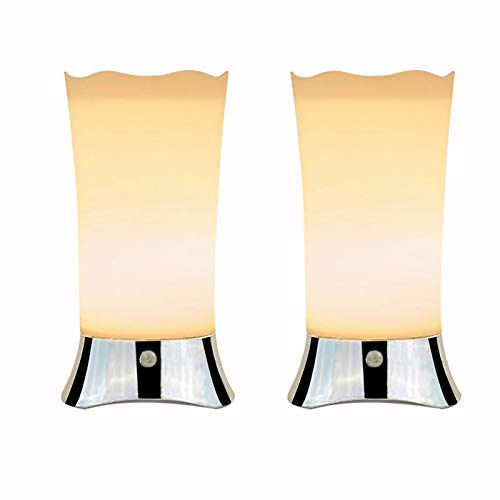Cordless Battery Operated Lamps for Home Tables Bathroom With Motion Sensor, Small Kitchen Table Lamps, Decorative Night Lights for Bedroom Living Room Hallway, Soft Glow Lamps for Baby Room(set of 2)