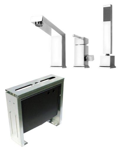 Komplettset 3-Loch Designer Wannenrandarmatur und Montageblock 3-Loch Armatur Wannenarmatur von DEANTE Modell