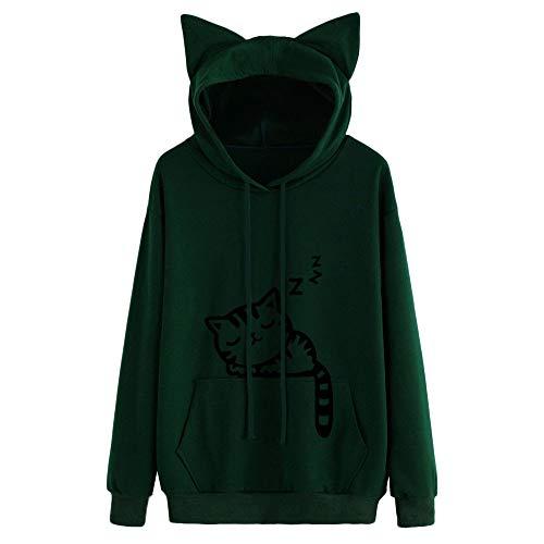 TOPKEAL Katze Long Sleeve Hoodie Pullover Damen Herbst Winter Kapuzenpullover Sweatshirt Winterpullover Jacke Mantel Tops