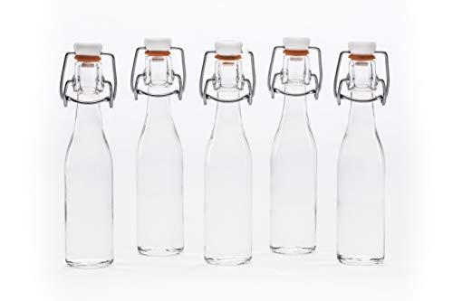 Lot de 24 (Bügel) petites bouteilles en verre avec bouchon à étrier mécanique 40 ml hauteur 15,8 cm slkfactory