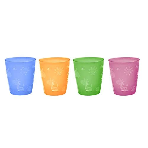 NIP Children's drinking cup for toddlers and babies, with cute motif, BPA-free, Made in Germany, set of 4, from 2 years