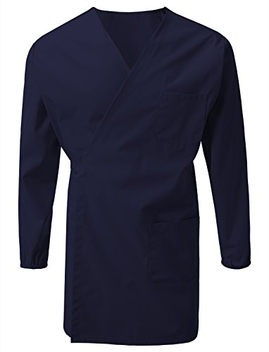 7 Encounter Unisex Multifuctional Wrap Smock with Chest and Side Pockets Navy Size L/XL