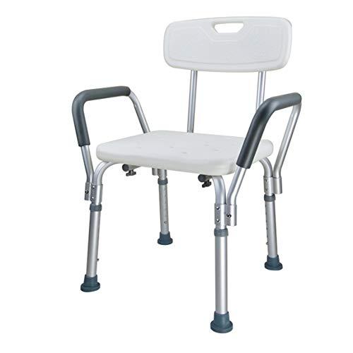 Taburete de ducha fabricado en aluminio,auxiliar de ducha, silla de baño para minusválidos,taburete de baño para personas mayores, regulable en altura, antideslizante, seguro y estable (Modell G)
