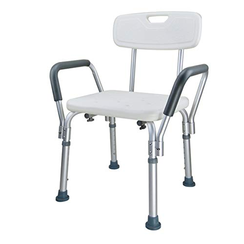 WYBAN BRIFO Duschhocker aus Aluminium,Duschhilfe,Badestuhl für Behinderte,Badehocker für Ältere,Höhenverstellbar,rutschfest,Sicher und Stabil, Badesitz,Leichtgewicht (Modell G)