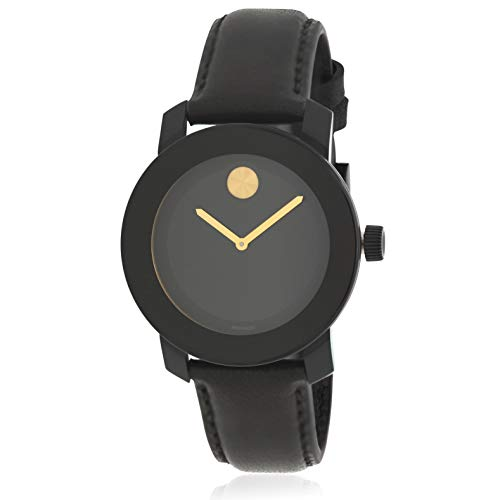 Movado Men' s Bold 40 mm Black Leather Band IP Steel case Quartz Watch...