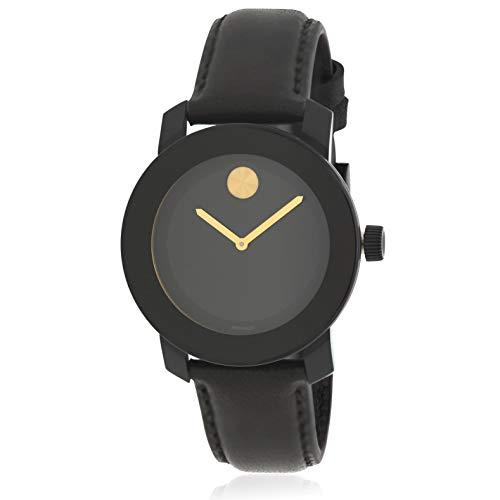 Movado Men' s Bold 40mm Black Leather Band IP Steel case Quartz Watch...