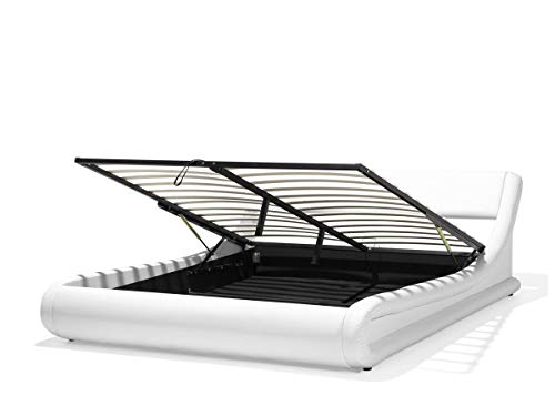 Supply24 since 2004 Designer Leder Bett Alicante mit Bettkasten + Lattenrahmen Lattenrost Polsterbett wellenförmiges Lederbett Weiss modern gewelltes Bett Doppelbett mit Stauraum günstig (160x200 cm)