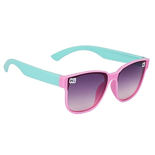 Dervin Square Shape Boy's and Girl's Sunglasses (Pink-Green, 3-9 Years)