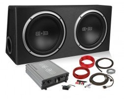 New Version 3 Belva 1000 watt Complete Car Subwoofer Package Includes Two (2) 10-inch Subwoofers in Ported Box, Monoblock Amplifier, Amp Wire Kit [BPKG210v3]