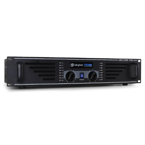 Skytec 960W amplificatore PA (2 x 300 Watt RMS a 4 Ohm, ingressi RCA e jack) - nero