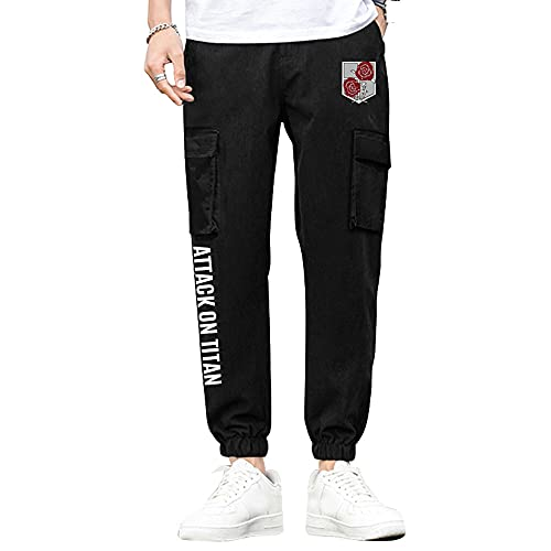 Nyrgyn Pantalones Deportivos Anime Attack on Titan Jogger Pantalones Deportivos cordón Bolsillos Pantalones de Trekking,S