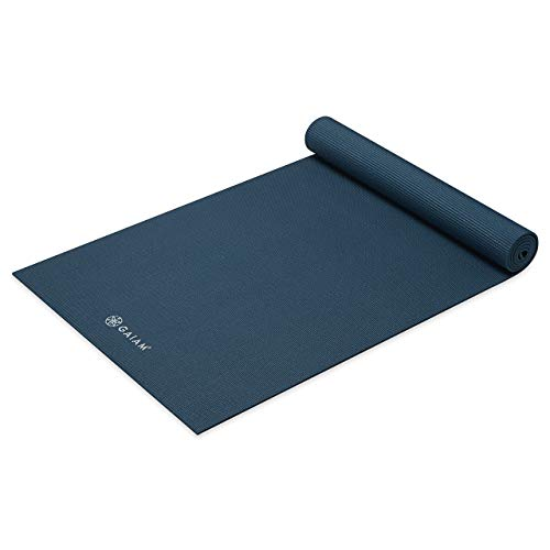 Gaiam Yoga Mat Premium Solid Color Reversible Non Slip Exercise & Fitness Mat for All Types of Yoga, Pilates & Floor Workouts, Marine, 5mm