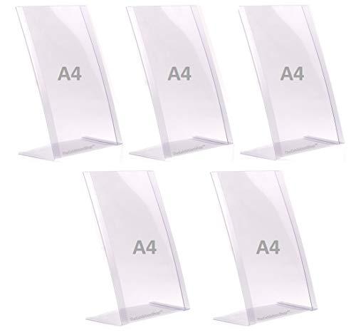 5 x Porta-avvisi da tavolo A4 - Espositore a4 da tavolo - Supporti per cartelli A4, menu, porta messaggio, poster, fotografie in PVC flessibile e indistruttibile, formato A4 - 5 pz -100% riciclabile