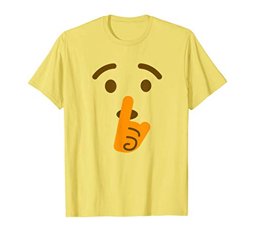 Shh Shushing Face Emoji Disfraz de Halloween Quiet Emoji Camiseta