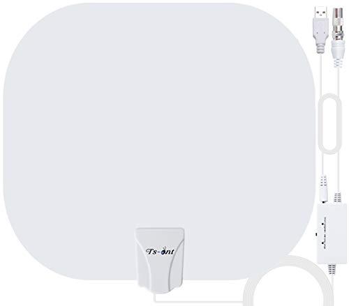 TS-ant TV-Antenne mit stärkerem Empfang,Indoor-TV-Antenne 240KM Reichweite Smart Verstärke Signalverstärker,Geeignet für 1080P 4K Kostenlose TV-Kanäle, für DVB-T/DVB-T2-TV-Antenne Weiß