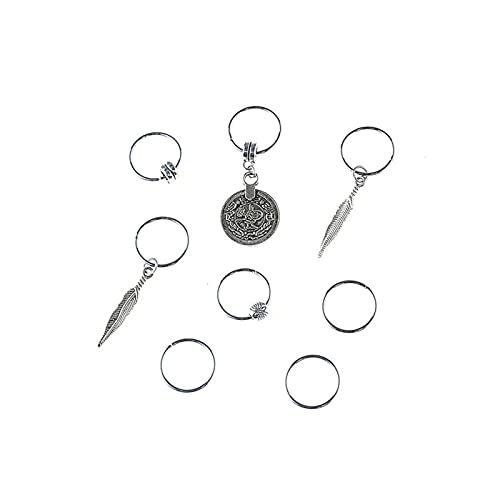 Personalità 7/8 pz/set retrò moneta colorata perline perline Ciondolo Anelli di ciondoli Set di clip per capelli Accessori per la fascia per trafitto Decorazione di accessori (Color : 8pcs Silver)