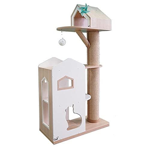 LQCM Muebles para Gatos, Castillo Grande, Bloqueo de Colores Cat Cat Trimking Marco, Cat House Sisal...