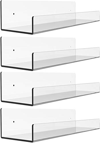 4 Pack Clear Acrylic Floating Wall Ledge Shelf,15' Invisible Wall Mounted Nursery Kids Floating Bookshelf for Kids Room,U Modern Picture Ledge Display Toy Storage Wall Shelf,Clear by Cq acrylic
