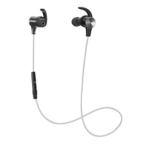 TaoTronics Bluetooth ヘッドホン ワイヤレス 5.0 磁気イヤホン スポーツ用 内蔵マイク TT-BH07 (IPX6 防水 aptX ステレオ 9時間再生) ホワイト