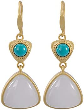 Rapid rise Natural Hetian Jade Turquoise Max 67% OFF Geometric Jewelry Lady Earrings
