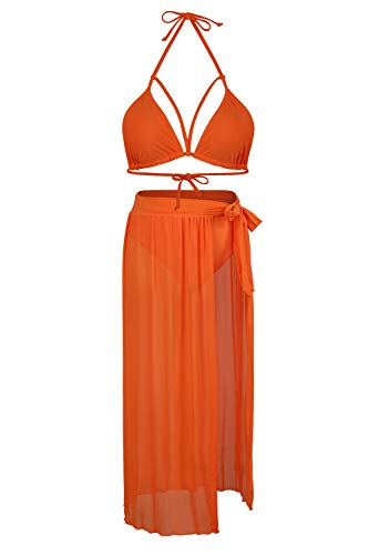 Kisscynest Women's Halter Neck Cut Out 3 Pieces Swimwear with Mesh Maxi Skirt (M, Neon Orange)