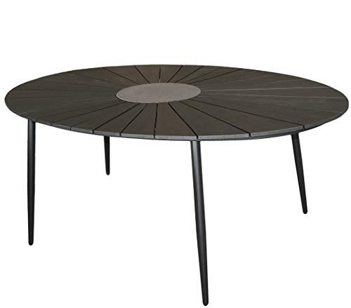 KMH®, Ovaler Holzimitat-Tisch/Gartentisch *Wolfsburg* 180 x 115 cm (schwarz) (#106178)