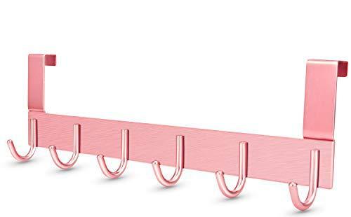 DeeAWai Türgarderobe Aluminium - Türhaken Kleiderhaken Tür Garderobenhaken mit 6 Haken - Türhänger für 1-1,5 cm Dicke Tür zu hängen Mäntel, Hüte, Jacken, Made für Standard Deutsche Tür, Roségold