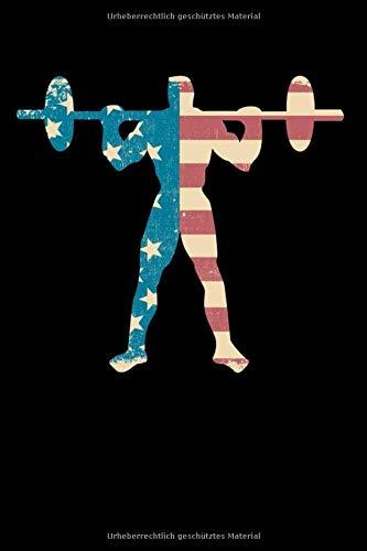Notizbuch: Retro American Flag Bodybuilder Squats Gym Workout Notizbuch DIN A5 120 Seiten für Notizen, Zeichnungen, Formeln | Organizer Schreibheft Planer Tagebuch