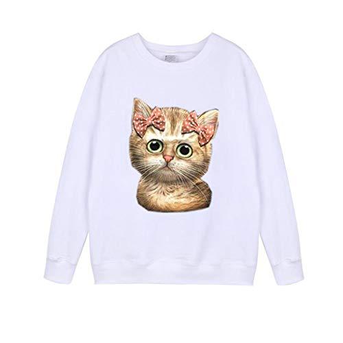 VEMOW Pullover Sudadera Mujer Casual Impresión del Gato Manga Larga Cuello Redondo Camisa de Entrenamiento Tops Blusa OtoñO Invierno(B Blanco,XL)