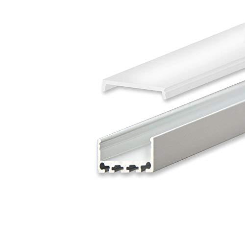 Aluminium Profil 2 Meter für Philips Hue Lightstrip und andere LED Streifen - Abmessung: 2000mm x 26mm x 12mm ALU Leiste (Silber, Standard Abdeckung - satiniert/opal)
