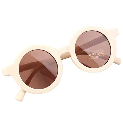 Hellery Gafas de Sol Redondas pequeñas Retro para niños, Gafas de Sol Vintage para niños, Gafas de Sol para Exteriores con protección UV, Gafas clásicas para - Beige