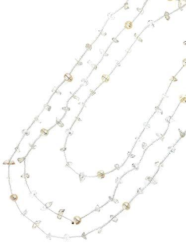 Linea Italia Gioielli - Collana Lunga per Donna con Perle Bianche e Pietre Naturali
