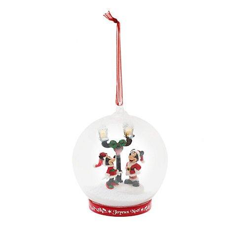 Au Decoración de Navidad de cristal iluminado de Mickey y Minnie, Disneyland Edition, decoración oficial de Disney,