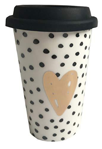Tasse Becher to go goldenes Herz auf weiß mit schwarzen Punkten und schwarzem Silikon Deckel 300 ml Porzellan Kaffee Tee