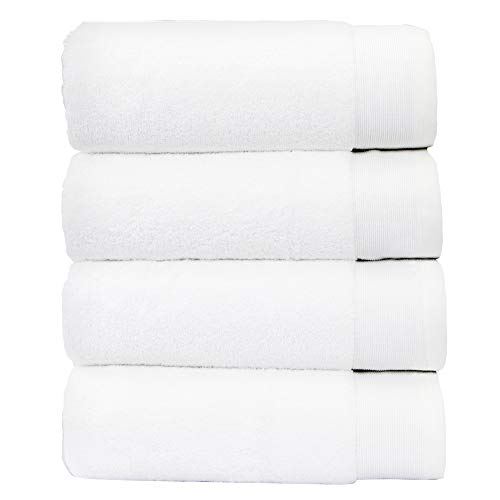 "Luxury 100% Cotton Bath Towels - Pack of 4, Extra Soft & Fluffy, Quick Dry & Highly Absorbent, No Lint, Hotel Quality, Shower Towel Set for Hair & Body, Like a Spa Retreat Everyday, White - 27"" x 54"""