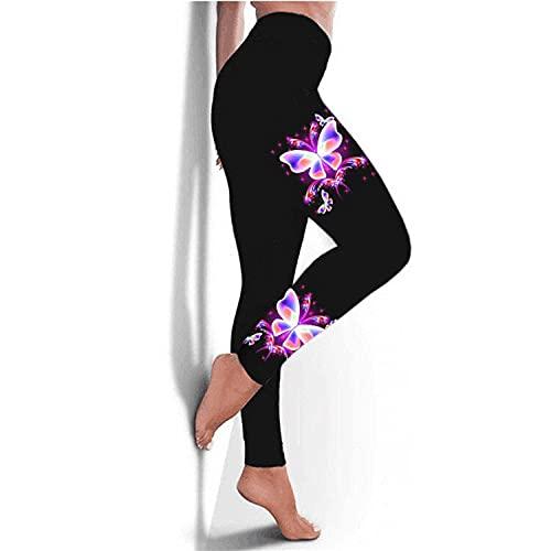ArcherWlh Pantalones De Yoga,Femenino 2021 Nueva Mariposa Imprimir Alto Ejercicio de Yoga Elástico Ejercicio Leggings-Púrpura_SG