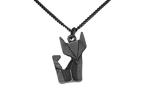 pretty_awesome h-z18118sc - Collar con colgante de zorro, geometría de origami, color negro, con bolsa para joyas