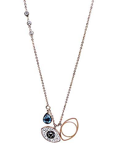 Collar con colgante de ojo de diablo de acero de titanio, diamante corto de 45 cm, cadena de clavícula colgante de cadena, accesorios de regalo de gama alta