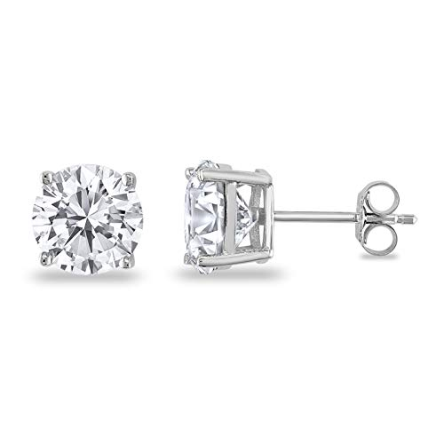 Butterfly Back 4 Prong Stud Earrings Round Casting Simulated Cubic Zirconia 925 Sterling Silver Size-3mm