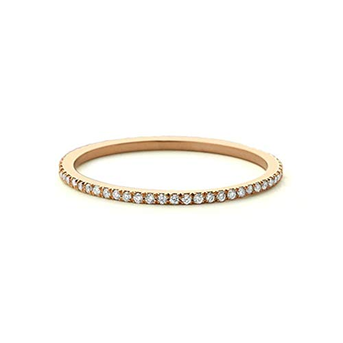 Cenliva Wedding Band, Cz Wedding Rings for Women Rose Gold Engagement Ring R 1/2 Ring Thin Ring Cz All Around