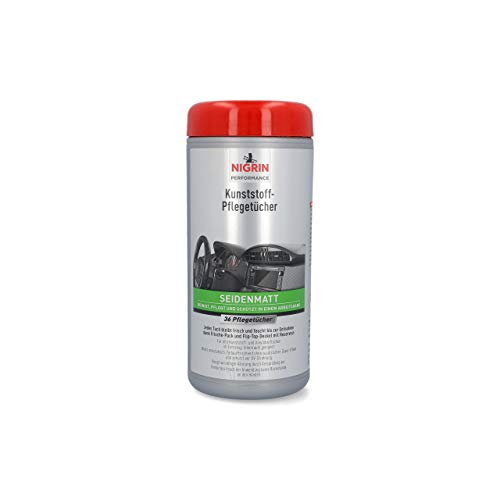 NIGRIN Kunststoff-Pflege-Tücher matt, feuchte Tücher für Kunststoff- und Vinyoberflächen im Fahrzeug-Innenraum, 36 Stück