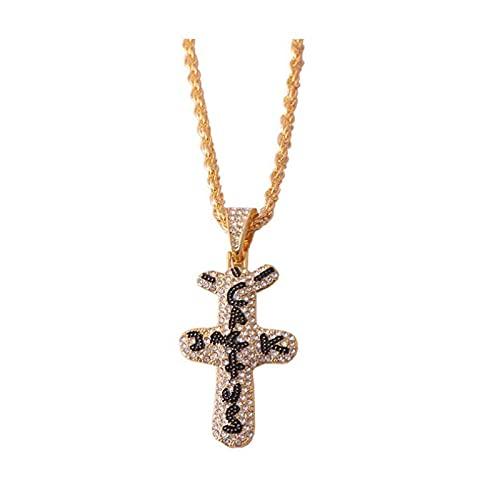Collar con colgante de cruz de cactus con circonita, estilo hip hop, con cadena de cuerda para hombres y mujeres
