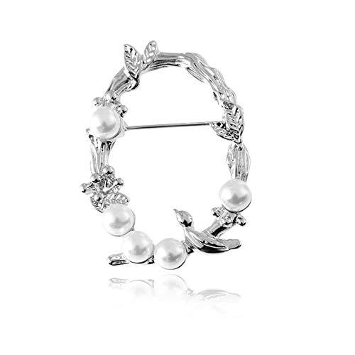 Hoja Guteng Broche de perlas Broche europeo y americano Bufanda de seda Hebilla Insignia Collar Pin (S)